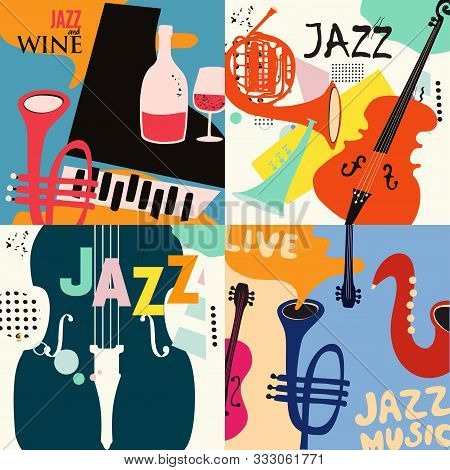 Set Of Music Cards And Banners Flat Vector Illustration Design. Music Cards With Instruments. Jazz M