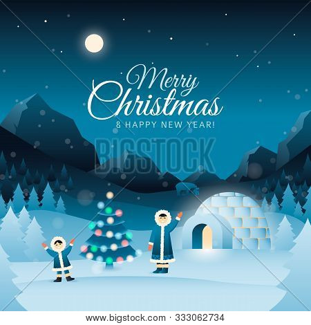 Merry Christmas Greeting Card With Eskimos Family, Tree, Igloo On The Arctic Mountain Landscape. Pol