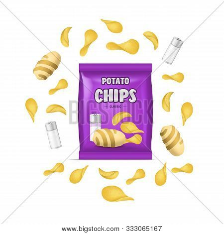 Realistic Detailed 3d Chips Advertisement Bag Crunchy Delicious Tasty Snack Product With Salt. Vecto