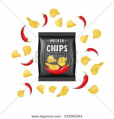Realistic Detailed 3d Chips Advertisement Bag Crunchy Delicious Tasty Snack Product With Flavor Pepp