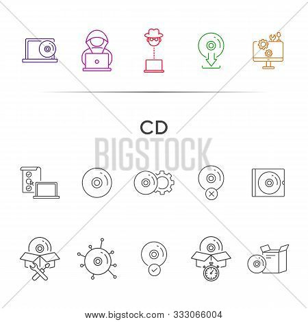 Cd Line Icons. Set Of Line Icons. Hacker, Cd Installation, Download From Cd. Data Storage Concept. V