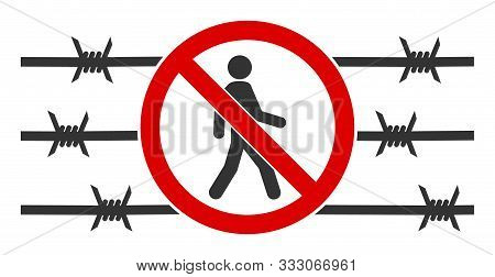 No Trespassing Fence Raster Icon. Flat No Trespassing Fence Symbol Is Isolated On A White Background