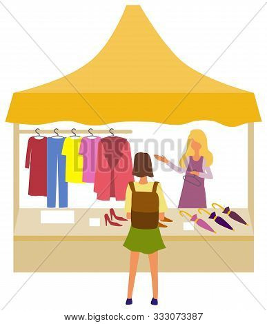 Woman Buying Clothes From Market Store Vector, Isolated Salesperson Showing Fabric And Production. C