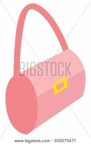 Accessories For Woman Vector, Stylish Purse With Gold Clasps. Pink Decoration To Complete Look Of El