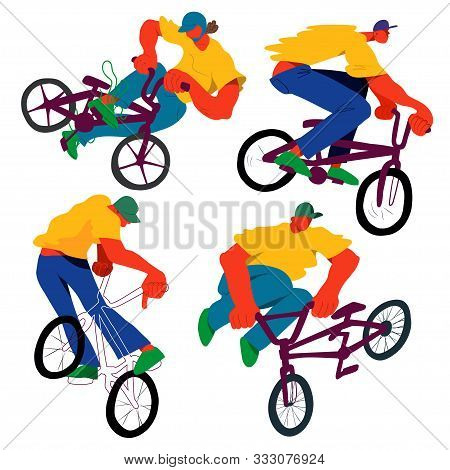 Guy On Bmx Make Trick, Disproportionate Overtone Flat Vector Illustration Set, Isolated Overexaggera