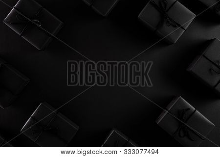 Top View Of Black Friday Sale Text With Black Gift Box On Dark Background. Shopping Concept Boxing D