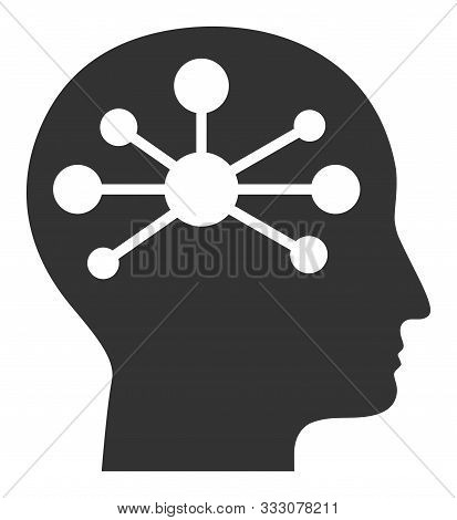 Human Intellect Raster Icon. Flat Human Intellect Symbol Is Isolated On A White Background.