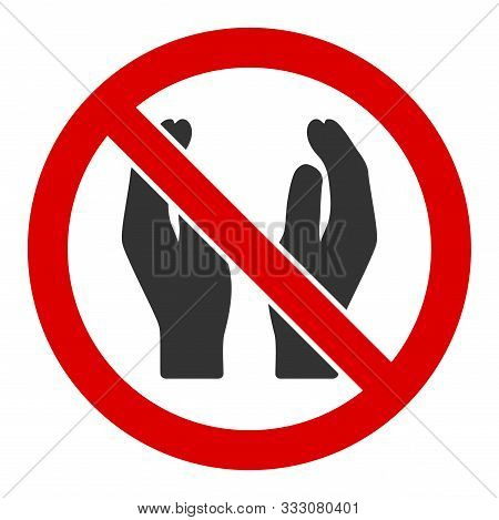 No Applause Raster Icon. Flat No Applause Symbol Is Isolated On A White Background.