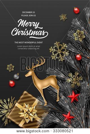 Christmas And New Year Poster. Fir Tree Branches With Christmas Decorations, Gold Figurine Of A Deer
