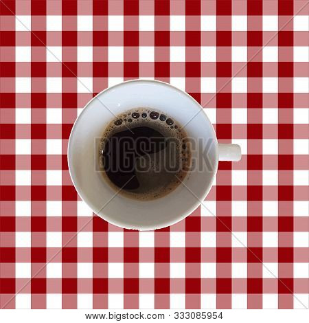 Vector Seamless Pattern With Top Veiw Cup Of Coffee On A Vichy Table Cloth