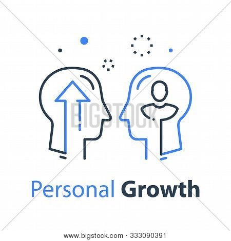 Two Human Head Profiles, Self Improvement, Leadership Training Or Mentoring, Pursuit Of Success, Sel