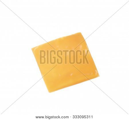 Slice Of Cheese For Sandwich Isolated On White