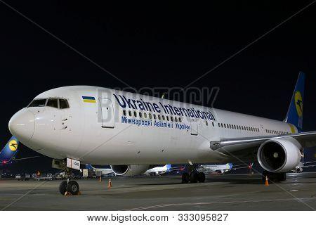 Borispol, Ukraine - October 18, 2019: Ur-geb Ukraine International Airlines Boeing 767-300 On The Pa