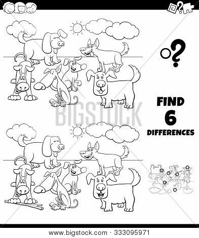 Black And White Cartoon Illustration Of Finding Differences Between Pictures Educational Game For Ch