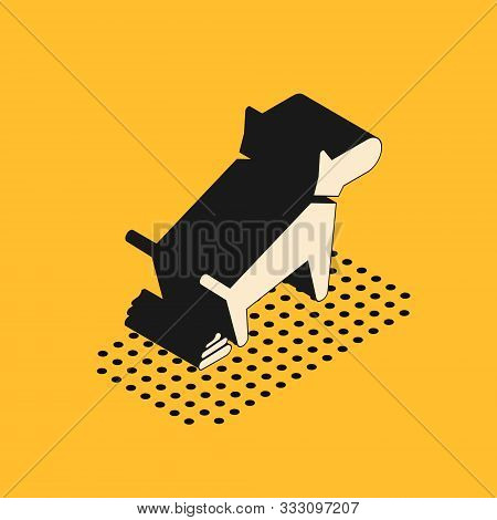 Isometric Dog Pooping Icon Isolated On Yellow Background. Dog Goes To The Toilet. Dog Defecates. The