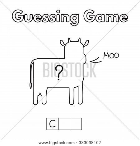 Cartoon Cow Guessing Game. Vector Illustration For Children Education