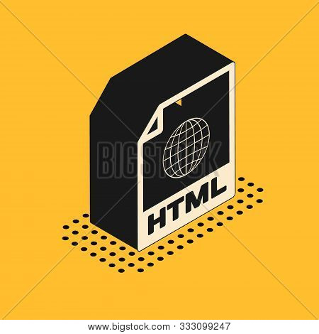 Isometric Html File Document. Download Html Button Icon Isolated On Yellow Background. Html File Sym