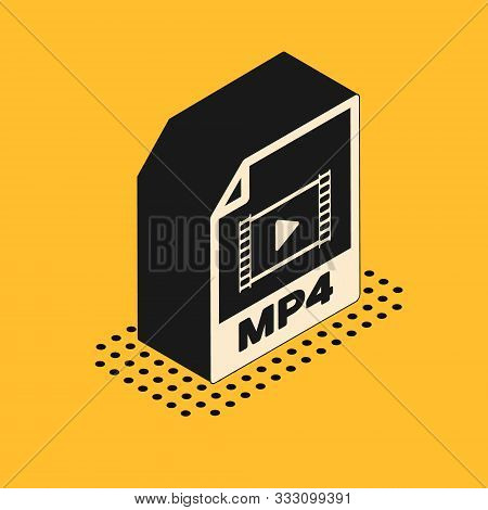 Isometric Mp4 File Document. Download Mp4 Button Icon Isolated On Yellow Background. Mp4 File Symbol