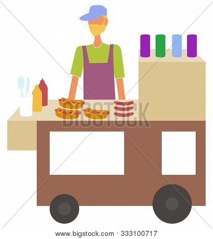 Man Selling Hot Dogs In Kiosk At Street Vector, Isolated Character With Bun And Sausage. Cooking Mal