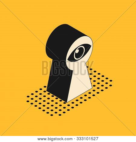 Isometric Keyhole With Eye Icon Isolated On Yellow Background. The Eye Looks Into The Keyhole. Keyho