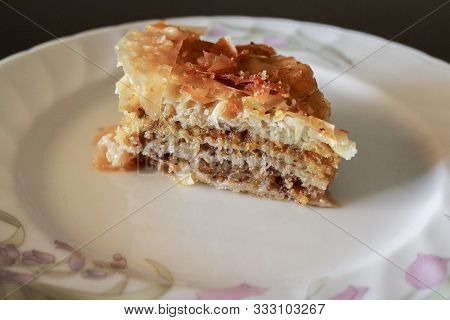 Baklava, Close-up Of The Traditional Turkish Dessert Made Of Filo Pastry And Dried Fruit, Recipes An