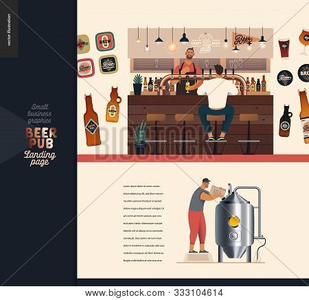 Brewery, Craft Beer Pub -small Business Illustrations -landing Page Design Template -modern Flat Vec