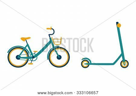 Pedal Bike With Basket And Kick Scooter On A White Background. Bicycle And E-scooter Isolated. Vecto