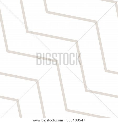 Subtle Vector Seamless Pattern With Diagonal Stripes, Thin Lines, Chevron, Zigzag. Simple Minimal Wh