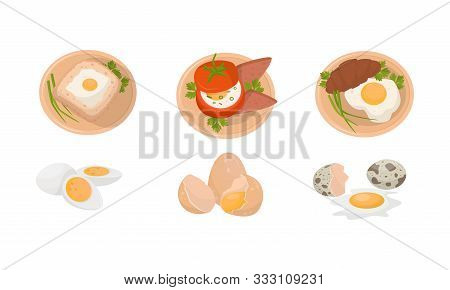 Various Egg Dishes For Breakfast, Brunch Or Lunch Vector Illustration Set Isolated On White Backgrou