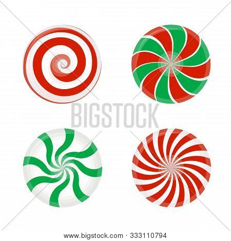 Set Of Striped Candy Without Wrapper. Caramel, Vector Illustration Isolated On White Background.