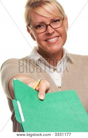 Blonde Woman Hands Over Pencil & Folder