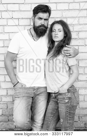 Lets Just Love Together. Couple Being In Love Relations Hugging On Brick Wall. Bearded Man And Sensu