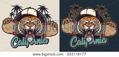 Vintage Skateboarding Colorful Emblem With Cruel Aggressive Tiger Head In Baseball Cap Skate Board A