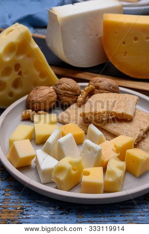 Tasty Snacks, Cheese Blocks From Dutch Yellow Gouda And White Goat Hard Cheeses And French Holes Che
