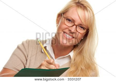 Beautiful Woman with Pencil and Folder taking notes. poster