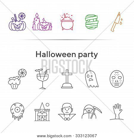 Halloween Party Line Icons. Pot With Poison, Ghost, Creepy Cocktail. Halloween Concept. Vector Illus