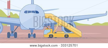 Passenger Boarding Stairs Truck near Airliner on Airport Runaway Flat Vector Illustration. Modern Airline Ground Support Transport and Equipment. Airport Passenger Technologies and Services Concept poster