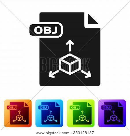 Black Obj File Document. Download Obj Button Icon Isolated On White Background. Obj File Symbol. Set