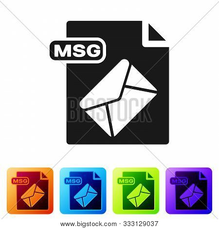 Black Msg File Document. Download Msg Button Icon Isolated On White Background. Msg File Symbol. Set