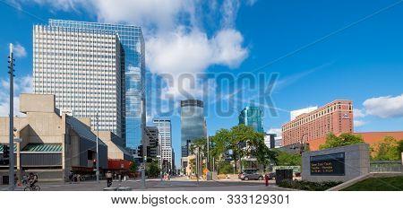 Minneapolis, Usa, - August, 11, 2019: Nicollet Mall, Minneapolis, Minnesota, Usa.