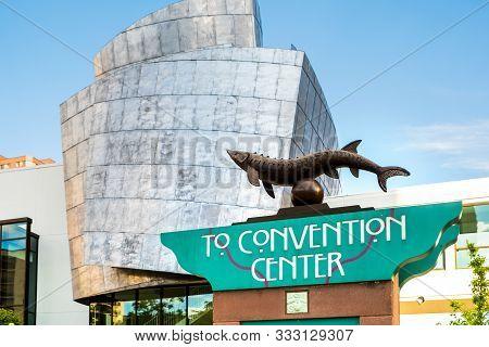 Minneapolis, Usa, - August, 11, 2019: The Sign For Tthe Convention Centre, Minneapolis, Minnesota, U