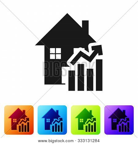 Black Rising Cost Of Housing Icon Isolated On White Background. Rising Price Of Real Estate. Residen