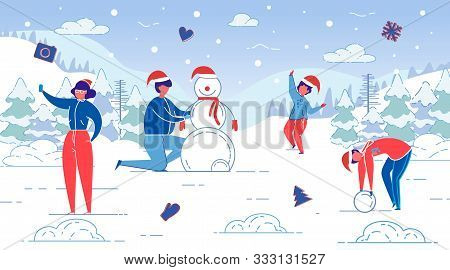 Flat Banner Winter Fun, Modeling Snowman, Slide. Husband And Wife Are Sculpting Snowman Together Wit