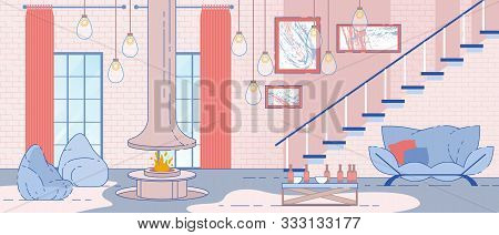 House, Apartment Roomy Interior In Loft Style Flat Vector Background With Bag Chairs Near Fireplace,