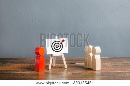 The Leader Explains Employee Tactics Of Advertisings Strategies Targeting. Training, Briefing. Study