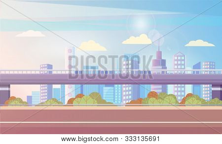 Streets And Highways Of Big City Vector, Flat Urban Area. Bushes And Greenery Of Town, Bridge And Sk