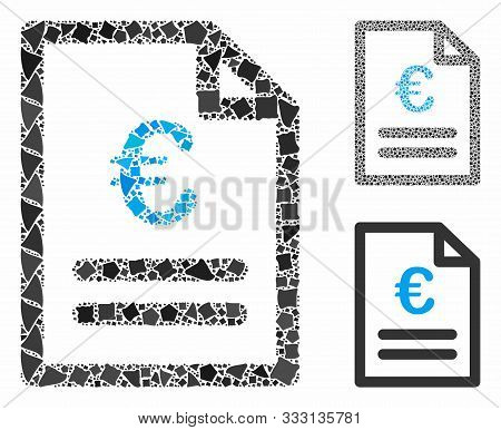 Euro Invoice Mosaic Of Inequal Parts In Various Sizes And Shades, Based On Euro Invoice Icon. Vector