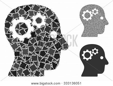 Intellect Gears Mosaic Of Ragged Pieces In Various Sizes And Color Hues, Based On Intellect Gears Ic