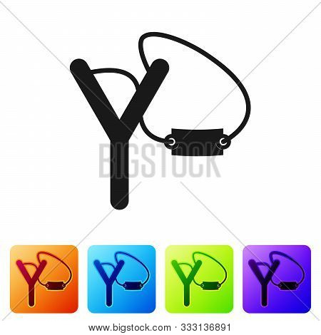Black Slingshot Icon Isolated On White Background. Set Icons In Color Square Buttons. Vector Illustr