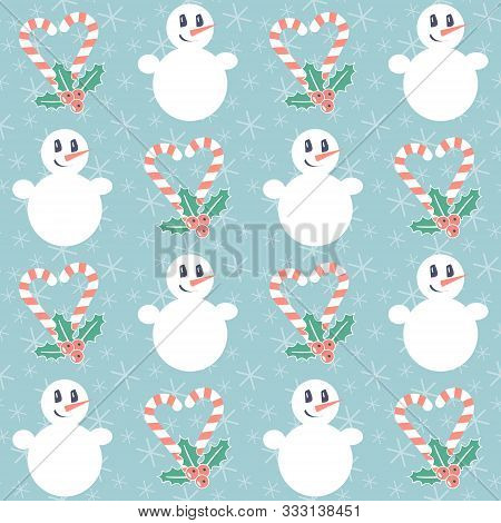 Christmas Pattern. Seamless Vector Illustration With Candy Canes, Mistletoe And Snowmen